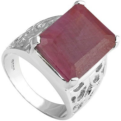 MARVELOUS 10 CARAT TW (1 PCS) GENUINE RUBY PLATINUM OVER 0.925 STERLING SILVER RING