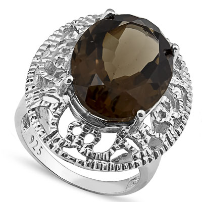 MARVELOUS 10.73 CARAT SMOKEY TOPAZ PLATINUM OVER 0.925 STERLING SILVER RING