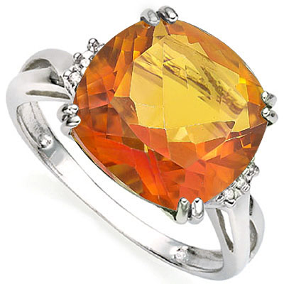 EXCLUSIVE 6.41 CARAT TW (3 PCS) AZOTIC GEMSTONE & GENUINE DIAMOND PLATINUM OVER 0.925 STERLING SILVER RING