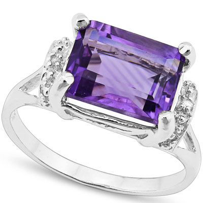 LOVELY 3.262 CARAT TW (3 PCS) AMETHYST & GENUINE DIAMOND PLATINUM OVER 0.925 STERLING SILVER RING