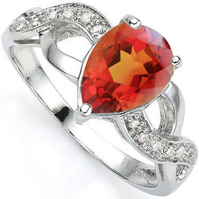 EXCLUSIVE 2 CARAT AZOTIC GEMSTONE & DOUBLE GENUINE DIAMONDS PLATINUM OVER 0.925 STERLING SILVER RING