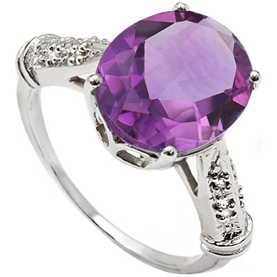 EXCLUSIVE 5.50 CT AMETHYST WITH DOUBLE GENUINE DIAMONDS 0.925 STERLING SILVER W/ PLATINUM RING