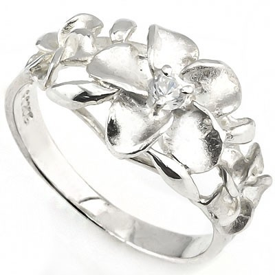 SMASHING PLUMERIA RING WITH 0.925 STERLING SILVER