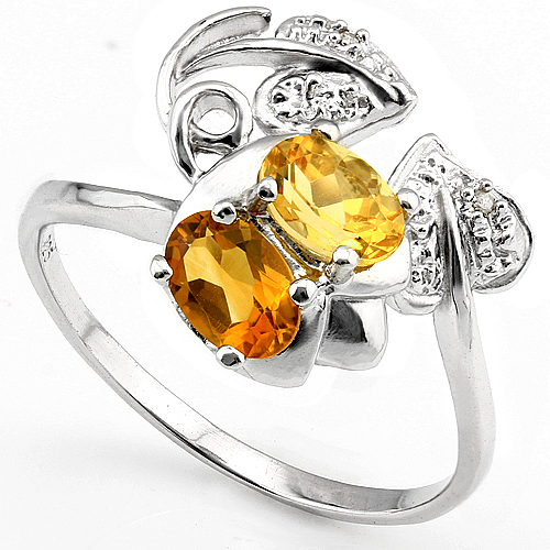 EXQUISITE 0.90 CT CITRINE & 2 PCS WHITE DIAMOND PLATINUM OVER 0.925 STERLING SILVER RING