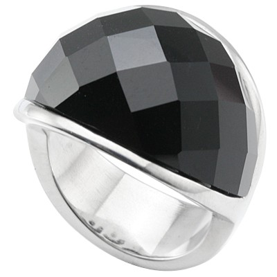 OUTSTANDING CHECKERBOARD JET BLACK HEAVY STAINLESS STEEL RING