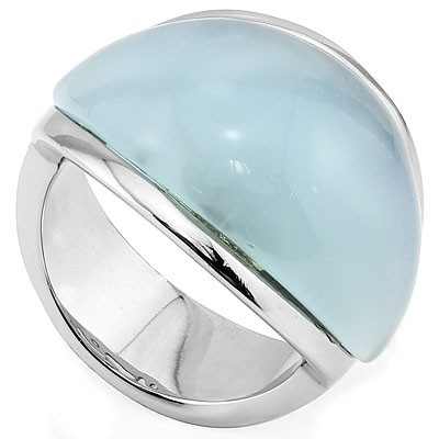 SPECTACULAR BABY BLUE HEAVY STAINLESS STEEL RING
