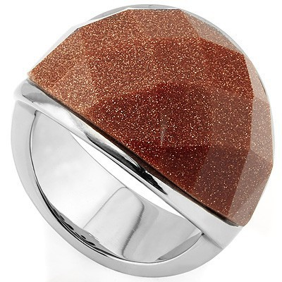 SPECTACULAR GOLD DUST HEAVY STAINLESS STEEL RING