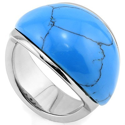 BLUE BLOODLINE STONE HEAVY STAINLESS STEEL RING