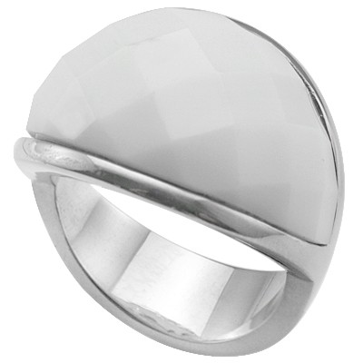 SPECTACULAR WHITE CHECKERBOARD HEAVY STAINLESS STEEL RING