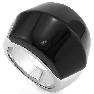 SPECTACULAR JET BLACK HEAVY STAINLESS STEEL RING