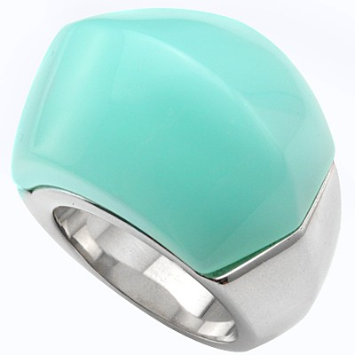 ATTRACTIVE TIFFANY BLUE HEAVY STAINLESS STEEL RING