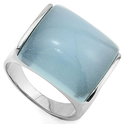 MARVELOUS TRANSPARENT BLUE HEAVY STAINLESS STEEL RING