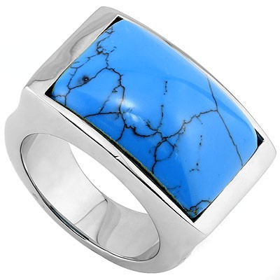 BLUE BLOODLINE HEAVY STAINLESS STEEL RING