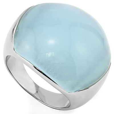 TRANSPARENT TIFFANY COLOR HEAVY STAINLESS STEEL RING
