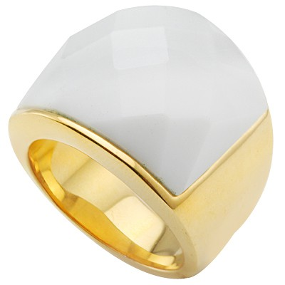 UNIQUE CHECKERBOARD WHITE HEAVY STAINLESS STEEL RING