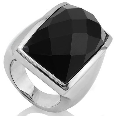 BRILLIANT DIAMOND CUT JET BLACK HEAVY STAINLESS STEEL RING