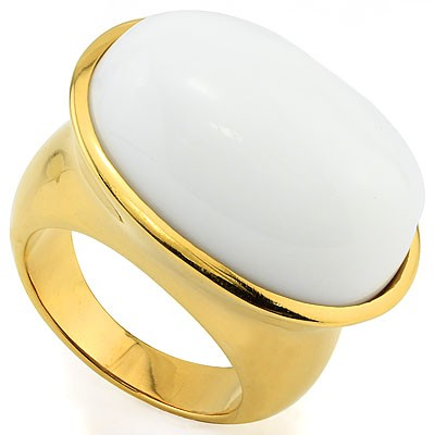 SPECTACULAR SNOW WHITE STONE HEAVY STAINLESS STEEL RING SIZE
