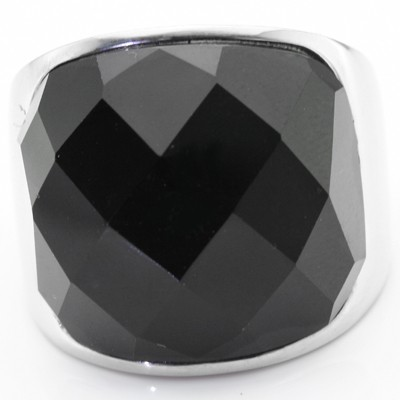 BRILLIANT DIAMOND CUT JET BLACK STONE HEAVY STAINLESS STEEL RING