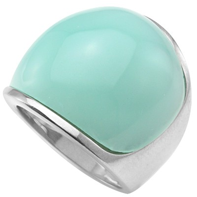 STYLISH TIFFANY COLOR STONE HEAVY STAINLESS STEEL RING