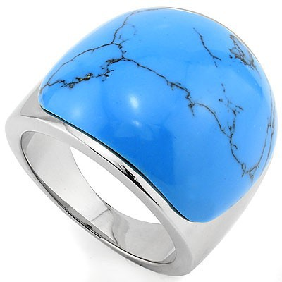 CHARMING TURQUOISE HEAVY STAINLESS STEEL RING