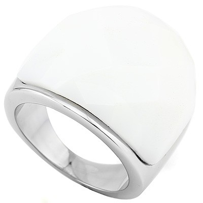 UNIQUE WHITE STONE ON HEAVY STAINLESS STEEL RING