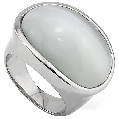 SPECTACULAR MOON STONE HEAVY STAINLESS STEEL RING