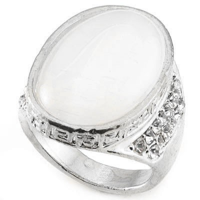 DELICATE FASHION DESIGN WHITE CREATED GEMSTONES WHITE ALLOY RING SIZE 8