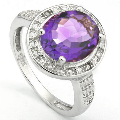 PERFECT 3.15 CARAT AMETHYST WITH DOUBLE GENUINE DIAMONDS PLATINUM OVER 0.925 STERLING SILVER RING