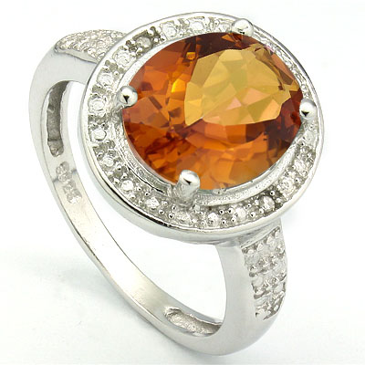 SMASHING 3.60 CARAT AZOTIC GEMSTONE WITH GENUINE DIAMONDS PLATINUM OVER 0.925 STERLING SILVER RING