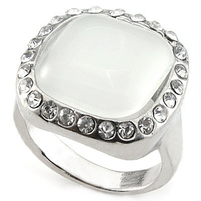 MESMERIZING! HUGE WHITE CREATED GEMSTONE & MULTIPLE CREATED GEMSTONES WHITE ALLOY RING SIZE 6