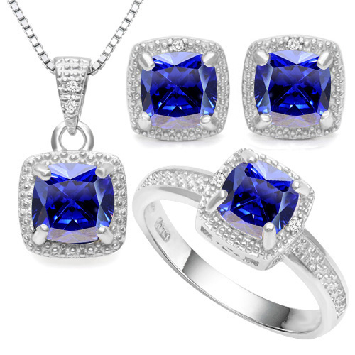 SMASHING 6.60 CARAT LAB TANZANITE WITH DOUBLE GENUINE DIAMONDS PLATINUM OVER 0.925 STERLING SILVER SET