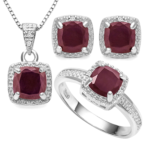 SMASHING 5.8 CARAT GENUINE RUBY WITH GENUINE DIAMONDS PLATINUM OVER 0.925 STERLING SILVER SET