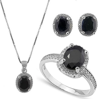 SMASHING 9.6 CARAT GENUINE SAPPHIRE & 5PCS GENUINE DIAMONDS PLATINUM OVER 0.925 STERLING SILVER SET