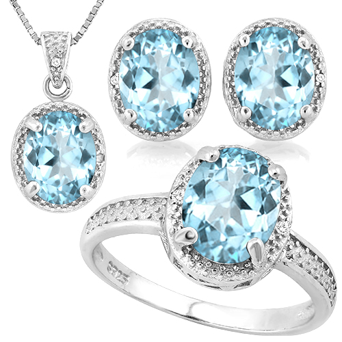 SMASHING 9.20 CARAT TW BLUE TOPAZ WITH GENUINE DIAMONDS PLATINUM OVER 0.925 STERLING SILVER SET