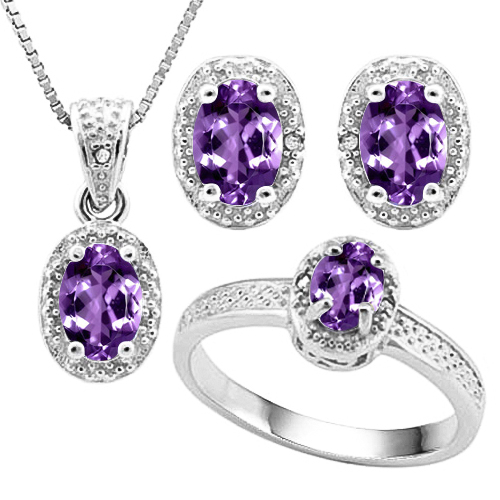 SMASHING 1.80 CARAT AMETHYST WITH GENUINE DIAMONDS PLATINUM OVER 0.925 STERLING SILVER SET