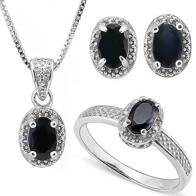 SMASHING 2.6 CT GENUINE SAPPHIRE WITH GENUINE DIAMONDS PLATINUM OVER 0.925 STERLING SILVER SET