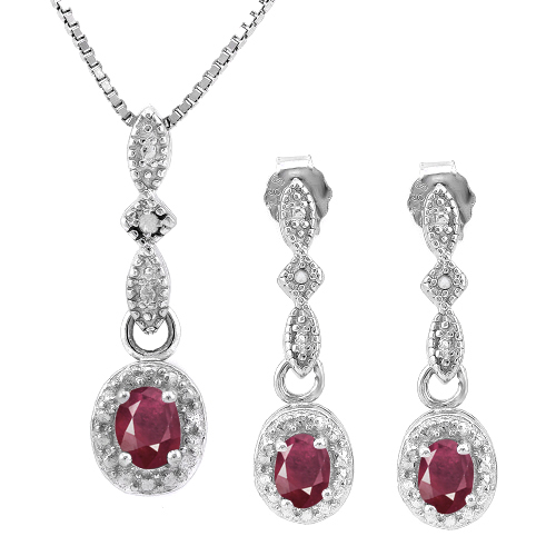 AMAZING 0.6 CARAT TW GENUINE RUBY & GENUINE DIAMOND PLATINUM OVER 0.925 STERLING SILVER SET