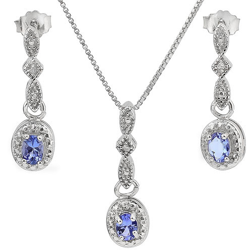 BRILLIANT 0.49 CARAT TW GENUINE TANZANITE & GENUINE DIAMOND PLATINUM OVER 0.925 STERLING SILVER SET