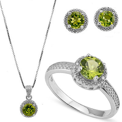 SMASHING 3.83 CARAT PERIDOT WITH DOUBLE GENUINE DIAMONDS PLATINUM OVER 0.925 STERLING SILVER SET