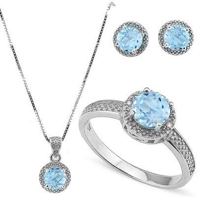 SMASHING 4 CARAT BLUE TOPAZ & GENUINE DIAMONDS PLATINUM OVER 0.925 STERLING SILVER SET