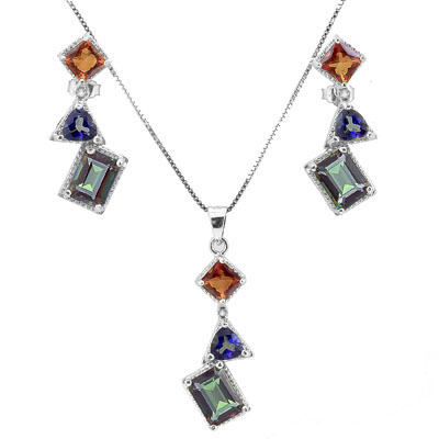 SMASHING 3.17 CARAT MIXED PRECIOUS GEMSTONE  PLATINUM OVER 0.925 STERLING SILVER SET