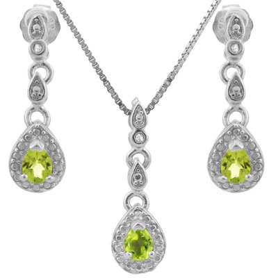 LOVELY 0.567 CARAT TW PERIDOT & GENUINE DIAMOND PLATINUM OVER 0.925 STERLING SILVER SET