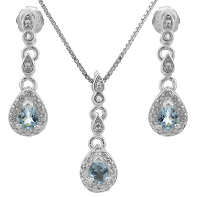 BEAUTIFUL 0.567 CARAT TW BLUE TOPAZ & GENUINE DIAMOND PLATINUM OVER 0.925 STERLING SILVER SET