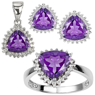 CHARMING 3.30 CT AMETHYST & 6 PCS WHITE DIAMOND 0.925 STERLING SILVER W/ PLATINUM JEWELRY SETS