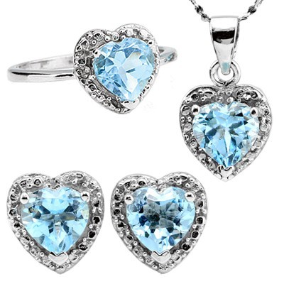 FANTASTIC HEART SHAPED SKY BLUE TOPAZ SUROUNDED WITH SPARKLING DIAMONDS 0.925 STERLING SILVER W/ PLATINUM JEWELRY SETS