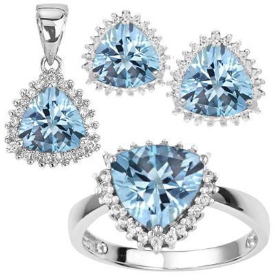 ELEGANT 5.50 CT BLUE TOPAZ WITH 6PCS GENUINE DIAMONDS PLATINUM OVER 0.925 STERLING SILVER SET