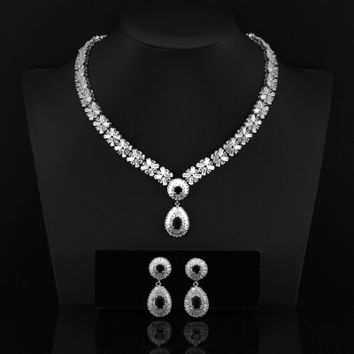 MAGNIFICENT CREATED SAPPHIRE & CREATED DIAMOND 18K WHITE GOLD PLATED GERMAN SILVER SET
