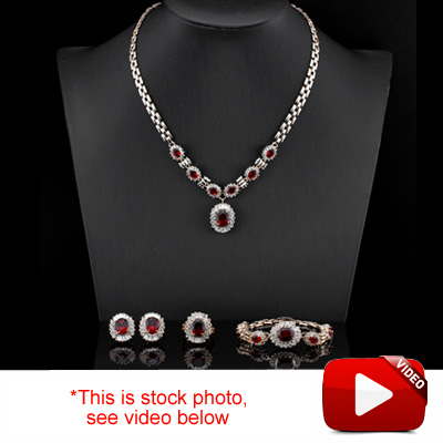(See Video Inside)<B>DEA - </B>EXCLUSIVE CREATED RUBY & CREATED DIAMOND 18K ROSE GOLD PLATED GERMAN SILVER SET