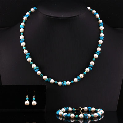 GORGEOUS TURQUOISE AND PEARL 14KT <b><u>SOLID</b></u> YELLOW GOLD SET ( NOTE : INCLUDED NECKLACE, BRACELET, EARRING)