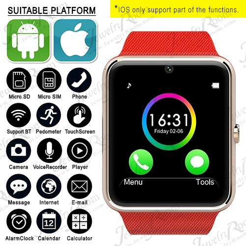 HOT! GT08 SMART WATCH LATEST WRIST WATCH MOBILE PHONE BLUETOOTH WATCH PEDOMETER FOR IOS ANDROID